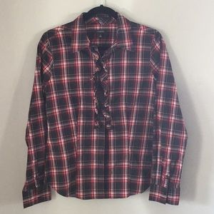 Talbots ruffle front button plaid shirt sz 6